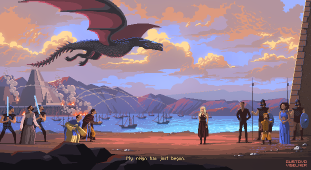 Pixel art from the Game of Thrones TV Show. Caption: My reign has just begun.