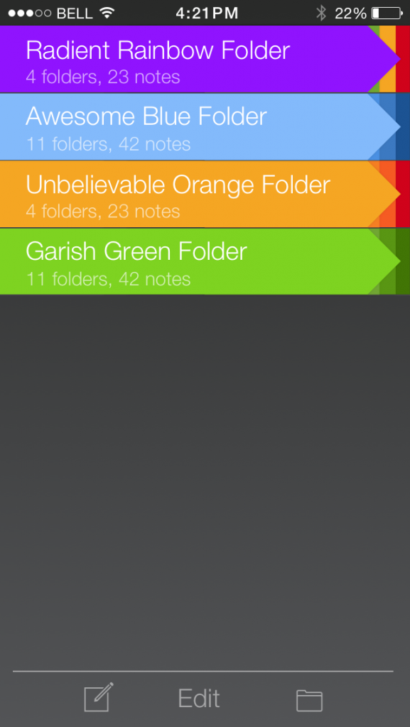 Main menu. A list of folder with different colors.