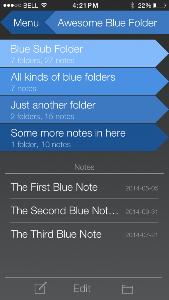 A blue sub-folder with other folders contained with it. Other note titles listed below the folders.